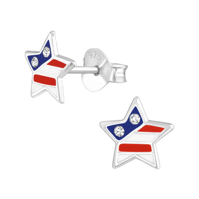 Children's Silver Usa Star Ear Studs with Crystal and Epoxy