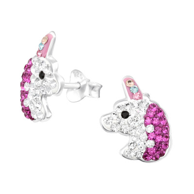 Children's Silver Unicorn Ear Studs with Crystal