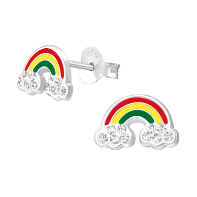 Children's Silver Rainbow Ear Studs with Crystal and Epoxy