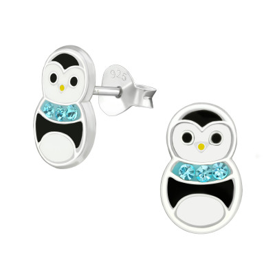 Children's Silver Penguin Ear Studs with Crystal and Epoxy