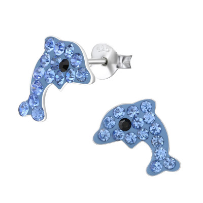 Children's Silver Dolphin Ear Studs with Crystal