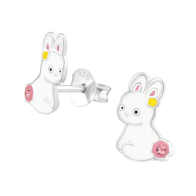 Children's Silver Rabbit Ear Studs with Crystal and Epoxy
