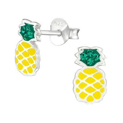 Children's Silver Pineapple Ear Studs with Crystal and Epoxy