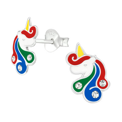 Children's Silver Unicorn Ear Studs with Crystal and Epoxy