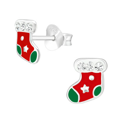 Children's Silver Socks Ear Studs with Crystal and Epoxy