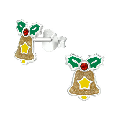 Children's Silver Bell Ear Studs with Crystal and Epoxy