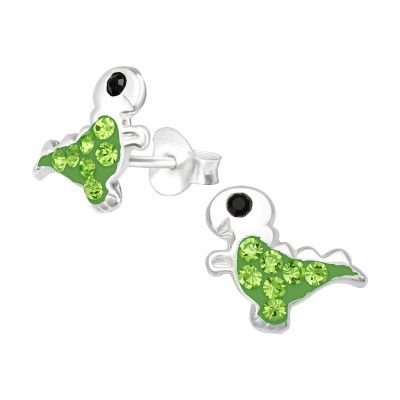 Children's Silver Dinosaur Ear Studs with Crystal