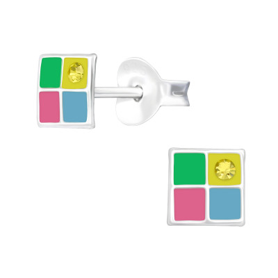 Children's Silver Geometric Ear Studs with Crystal and Epoxy