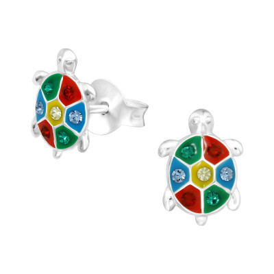 Children's Silver Turtle Ear Studs with Crystal and Epoxy