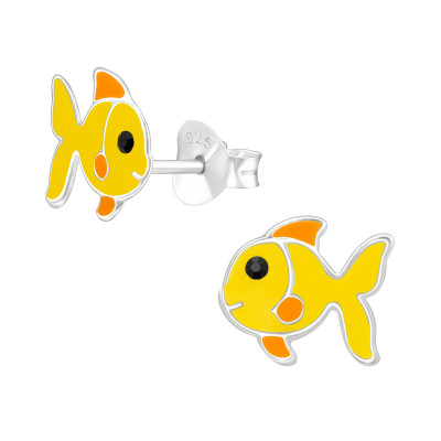 Children's Silver Fish Ear Studs with Crystal and Epoxy