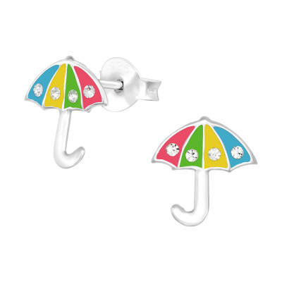 Children's Silver Umbrella Ear Studs with Crystal and Epoxy