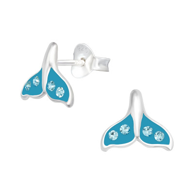 Children's Silver Whale's Tail Ear Studs with Crystal and Epoxy