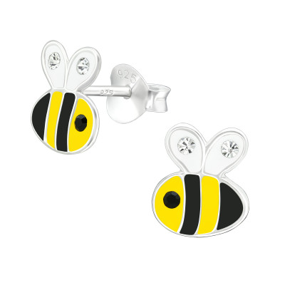 Children's Silver Bee Ear Studs with Crystal and Epoxy