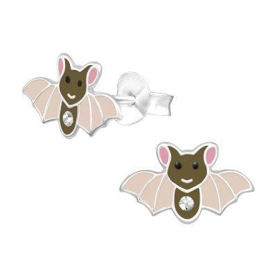 Children's Silver Bat Ear Studs with Crystal and Epoxy