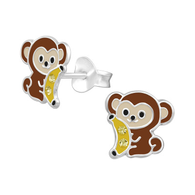 Children's Silver Monket Ear Studs with Crystal and Epoxy