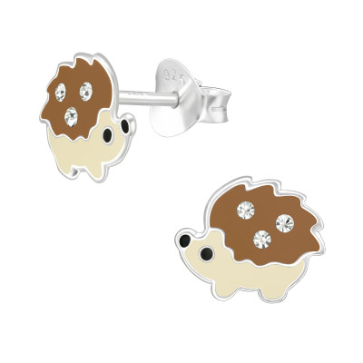 Children's Silver Hedgehog Ear Studs with Crystal and Epoxy