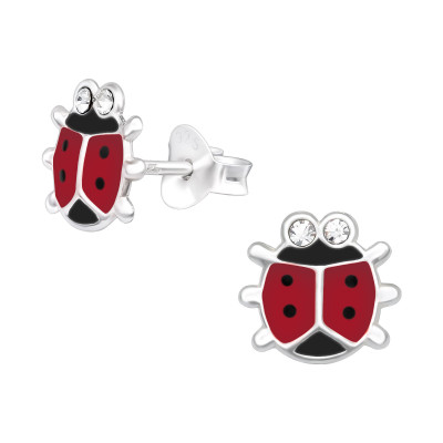 Children's Silver Ladybug Ear Studs with Crystal and Epoxy