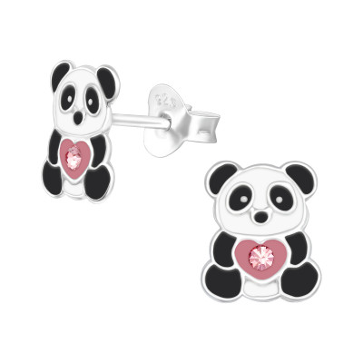Children's Silver Panda Ear Studs with Crystal and Epoxy