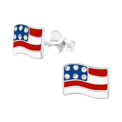Children's Silver Usa Ear Studs with Crystal and Epoxy