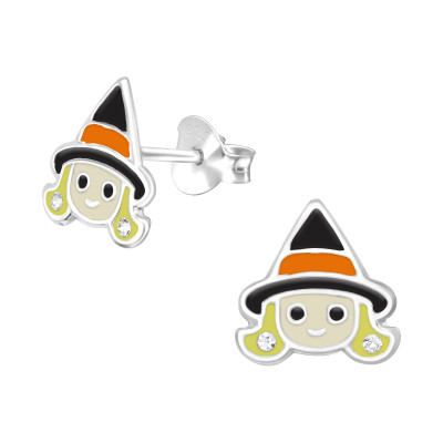 Children's Silver Witch Ear Studs with Crystal and Epoxy