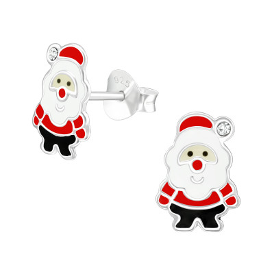 Children's Silver Santa Claus Ear Studs with Crystal and Epoxy