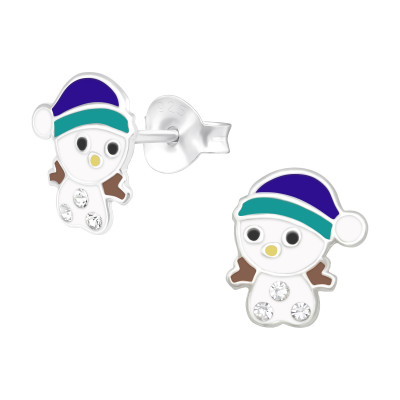 Children's Silver Snowman Ear Studs with Crystal and Epoxy
