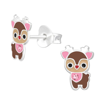 Children's Silver Deer Ear Studs with Crystal and Epoxy