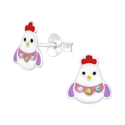 Children's Silver Chick Ear Studs with Crystal and Epoxy