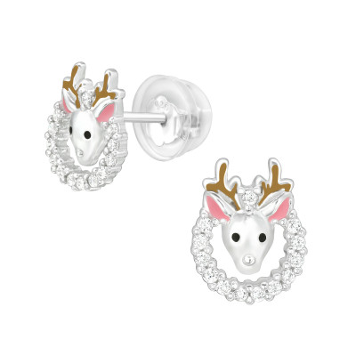 Premium Children's Silver Reindeer Ear Studs with Cubic Zirconia and Epoxy