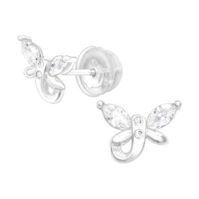 Premium Children's Silver Dragonfly Ear Studs with Cubic Zirconia