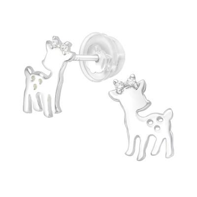 Premium Children's Silver Deer Ear Studs with Cubic Zirconia