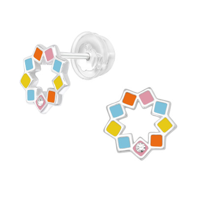 Premium Children's Silver Geometric Ear Studs with Crystal and Epoxy