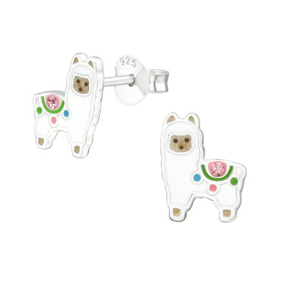 Children's Silver Alpaca Ear Studs with Crystal and Epoxy
