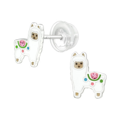 Premium Children's Silver Alpaca Ear Studs with Crystal and Epoxy