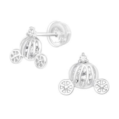 Premium Children's Silver Pumpkin Carriage Ear Studs with Cubic Zirconia