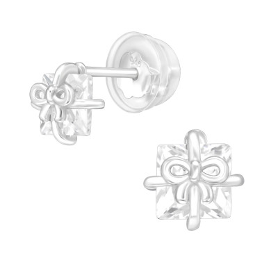 Premium Children's Silver Gift Box Ear Studs with Cubic Zirconia