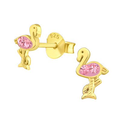 Children's Silver Flamingo Ear Studs with Crystal