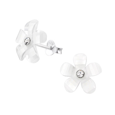 Children's Silver Flower Ear Studs with Crystal and Plastic