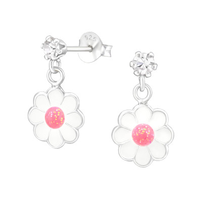 Children's Silver Ear Studs with Crystal and Hanging Epoxy Flower