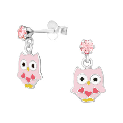 Children's Silver Ear Studs with Hanging Epoxy Owl and Crystal