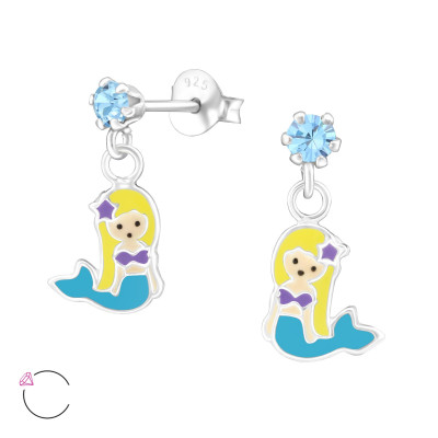 Children's Silver Ear Studs with Hanging Epoxy Mermaids and Genuine European Crystals