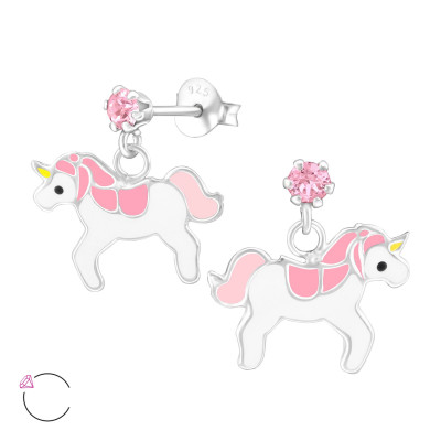Children's Silver Ear Studs with Hanging Epoxy Unicorn and Genuine European Crystals