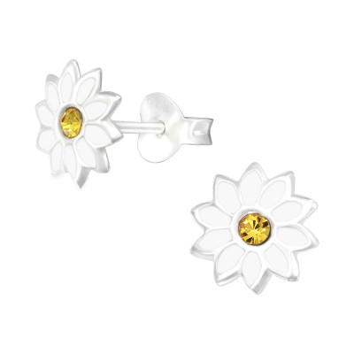 Children's Silver Flower Ear Studs with Crystal