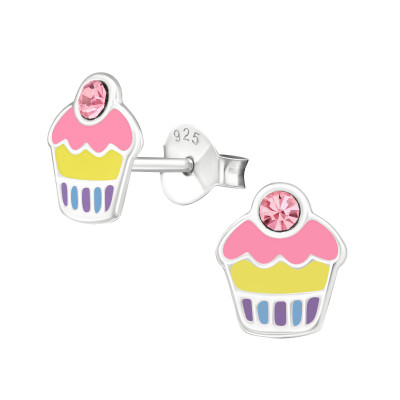 Children's Silver Cupcake Ear Studs with Crystal and Epoxy