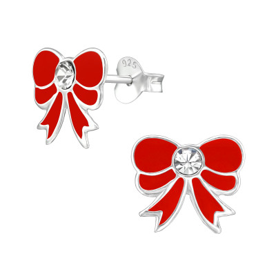 Children's Silver Bow Ear Studs with Crystal and Epoxy