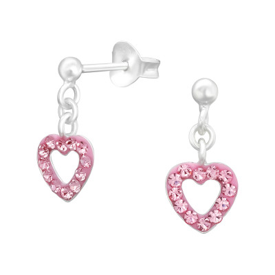 Children's Silver Ball Ear Studs Hanging Heart with Crystal