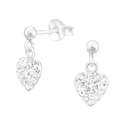 Children's Silver Ball Ear Studs with Hanging Heart and Crystal