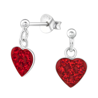 Silver Ball Ear Studs with Hanging Heart and Crystal