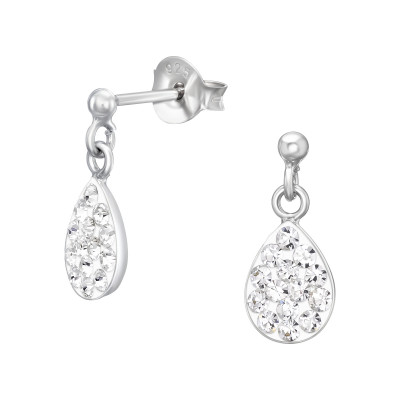 Children's Silver Ball Ear Studs Hanging Drop with Crystal