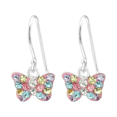 Children's Silver Butterfly Earrings with Crystal
